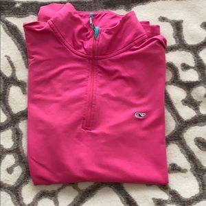 Vineyard Vines Long Sleeved Pink Quarter Zip